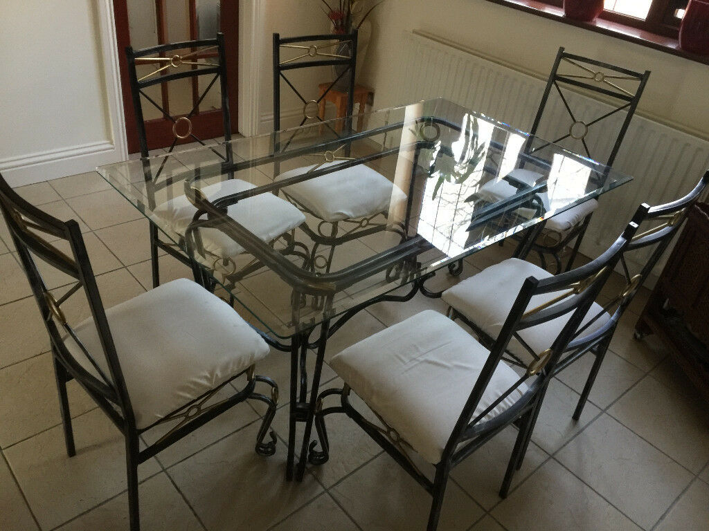 Gl Six Seater Wrought Iron Dining Table With Matching Chairs X O Type