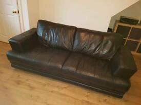 2 & 3 seater DFS Calvino black leather sofas (less than 2 year old)