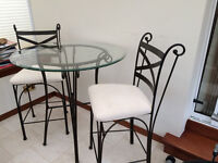 Beautiful Bistro Table and 2 chairs - glass and iron