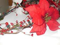 Cranberry Lites with Berry Garland with Red Pointsettas