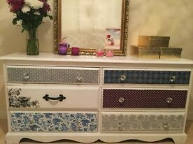 6 drawers chest DIY refubrished solid wood shabby chic vintage