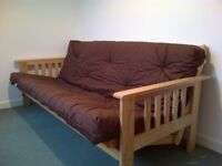 Kyoto futon double sofa bed - 3 seater - chocolate brown