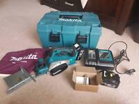 Makita DKP180 planer 2 x batteries charger & case*used once*