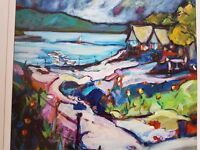lakeside shelter painting by E McGowan