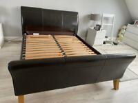 Brown Leather (faux) Sleigh Bedframe