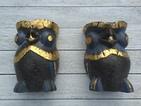 Hand painted wooden owl book ends