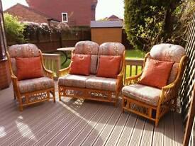 Cane three piece conservatory suite
