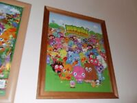 2 BIG MOSHI MONSTERS FRAMED PICTURES (18 x 22 INCHES)