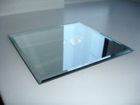 x 10 Square bevelled edge mirror plate- wedding table centrepiece.