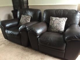 Quality leather 3 piece suite + stool