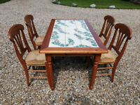 Pine tile topped table and 4 chairs