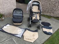 Mamas and Papas bundle pram MPX chassis, pushchair with hood,sun shade, cosy toes and apron