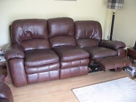 Brown Leather electric recliner sofa 3 seater