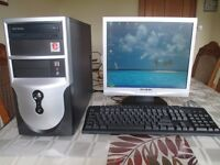 """Computer, 17"""" Flat Screen monitor, Canon 4 in 1 colour printer, keyboard, mouse."""