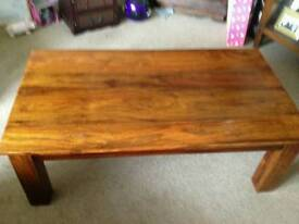 Coffee table solid dark wood