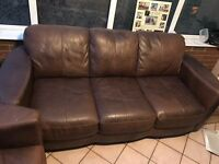Soft Leather Brown Sofa, 2 & 3 seaters, good condition, general wear.