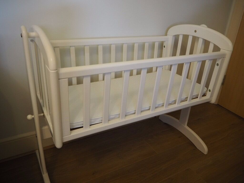 Baby cribs john lewis - John Lewis Anna Swinging Baby Crib White Excellent Condition With Mattress