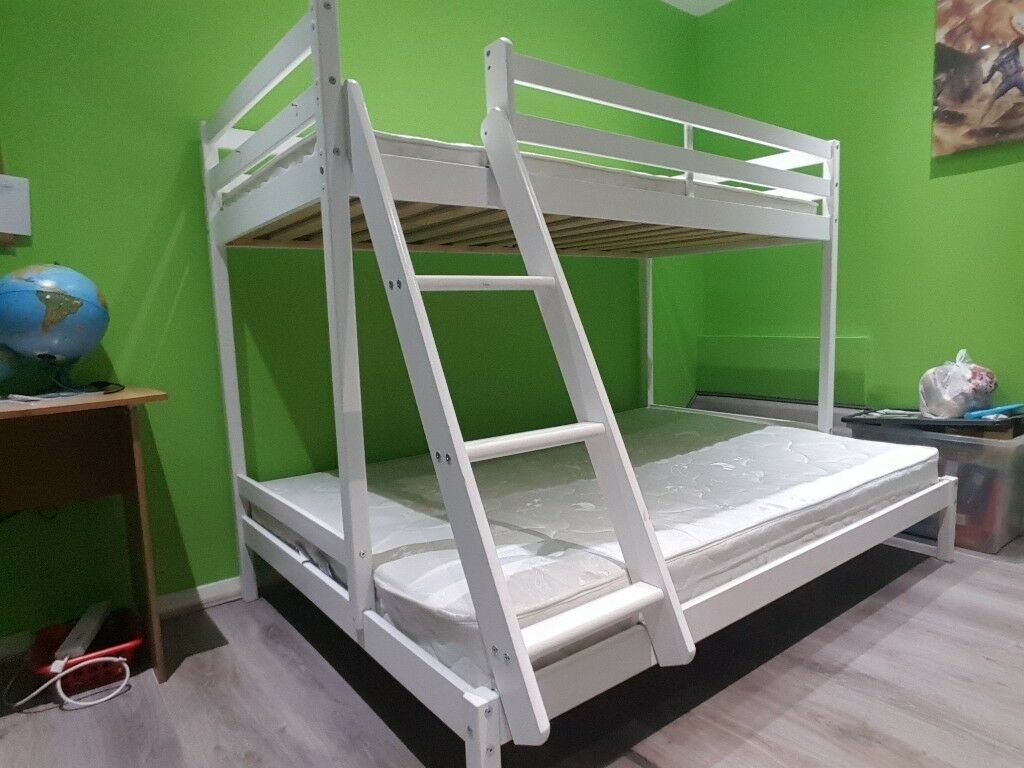 Triple Bunk Bed White Single And Double Wooden Bunk Bed With Dylan