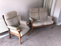 ORTHOPAEDIC FIRESIDE HIGH CHAIR AND 2-SEAT SOFA. TRADITIONAL STYLE.