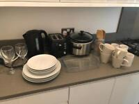 Kitchen job lot - kettle, toaster, slow cooker, plates and more
