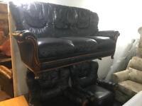 Black Italian leather 3 11 Sofa set