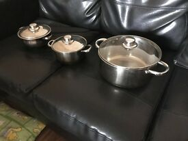 3 stainless steel cooking pots. Bargain!