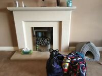 Contempoarary Gas Fire and Marble Surround