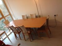 Quality Wood Extendable 6 Seat Dinning Table With Chairs