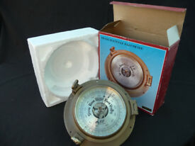 Plastimo 6 inch Solid Brass Porthole Barometer unused in Box