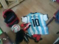 Football kit boots ball and bag