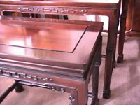 Set of three Edwardian Oriental rosewood nesting tables