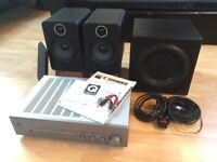 "HiFi system - NAD C320BEE amplifier, Q Acoustics 2020i speakers, REL Q200E 10"" subwoofer + extras"