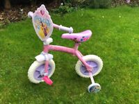 Girls pink bike with stabilisers Disney princess