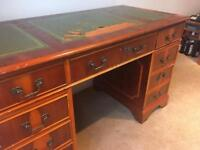 Antique Mahogony Leather Partner's Desk