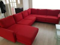 Big red corner sofa with chaise for sale!
