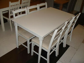 Margo Turned Leg Dining Table - White & 6 Hamstead Dining Chairs (07851770393)