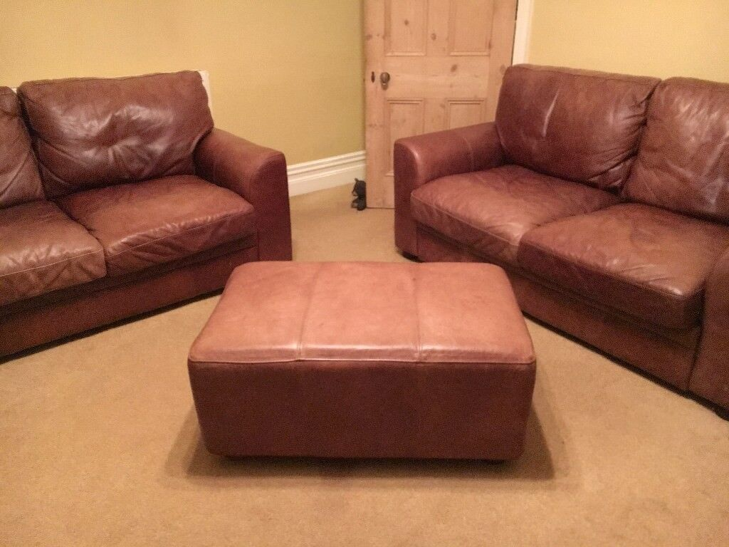 Halo Soho Leather Sofa Set X 2 Seaters 1 Chair And Large Footstool
