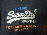 BRAND NEW WITH TAGS - Mens Navy / Grey SUPERDRY T Shirt, Size XL