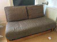 Lovey solid birch 2 seater sofa bed with drawer and trifold mattress by Futon company, great conditi