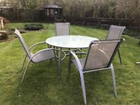 Garden Furniture - Dining Set, 4 armchairs, glass topped table, umbrella/stand