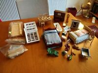 Dolls house accessories including windows, door, piano,beds,bath etc.