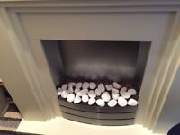 freestanding fireplace/electric fire. Marble hearth