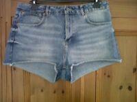 Topshop Ladies Blue Denim Shorts-UK 16