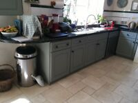 Kitchen units, oven, hob, stainless steel sink and taps, granite work surface