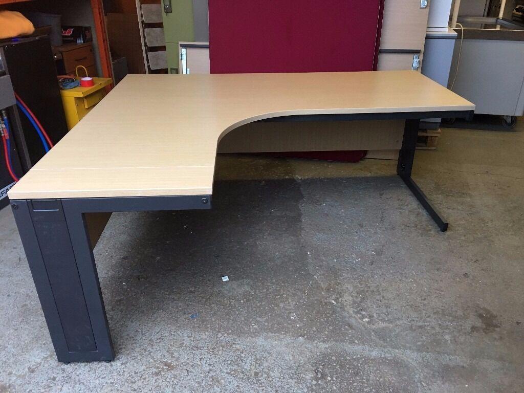 Very High Quality Light Oak L Shaped Office Desk Left Handed Right