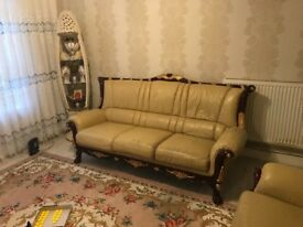 Italian style sofas 3&2 seater real leather