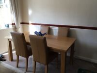 John Lewis oak dinning room table and chairs