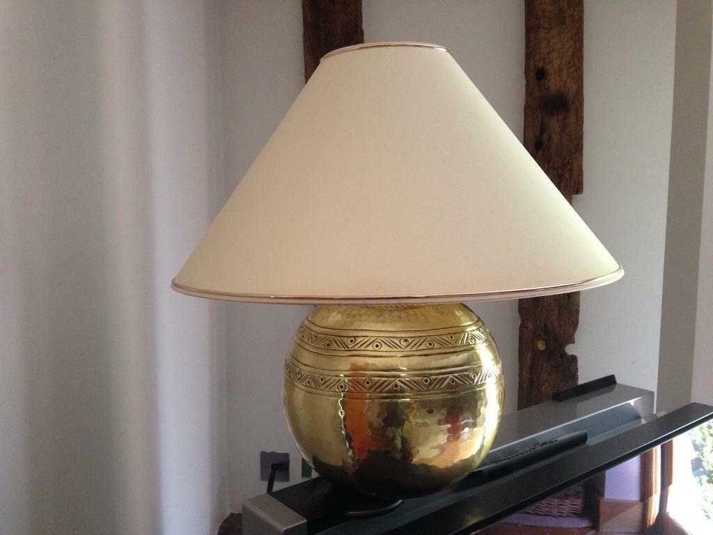 Large Brass Table Lamp Stand With Shade In Bishops Stortford