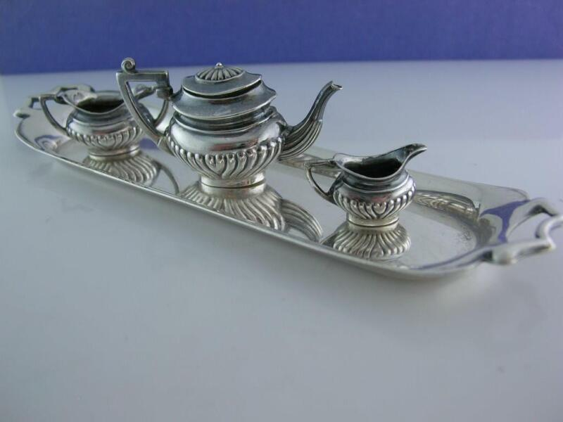 English Sterling Miniature Tea Set w/ Tray A Marston & Co Birmingham