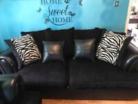 3 +2 black chenille and leather sofas